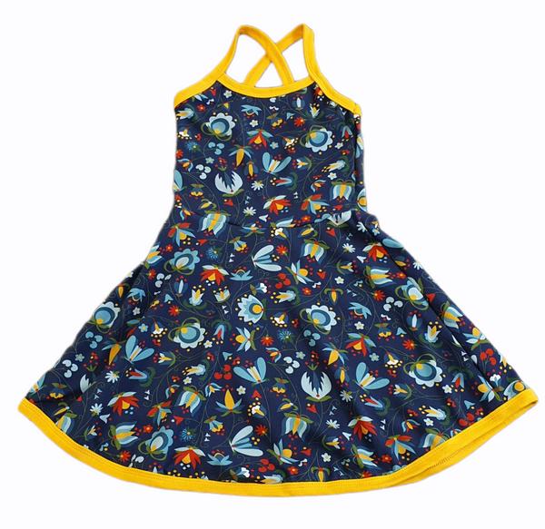 Bilde av Blå Kjole med stropp - Blomster