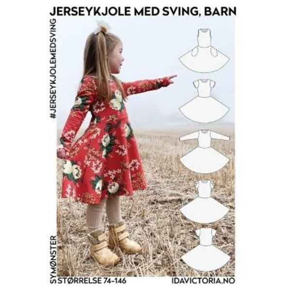 Bilde av Jerseykjole med sving til barn (str. 74-146)